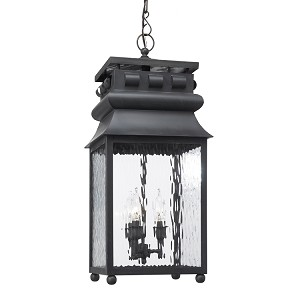 "Lancaster Collection 3-Light 28"" Charcoal Hanging Lantern with Water Glass 808-C"