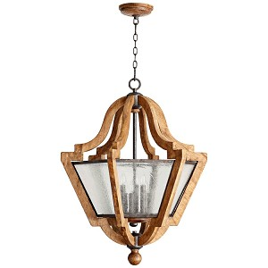 "Ashford Collection 6-Light 34"" Provincial Wood Grain Pendant Chandelier with Clear Seeded Glass 8163-6-23"