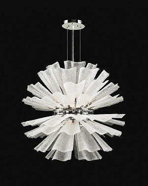 "Enigma Design 8-Light 32"" Polished Chrome Hanging Pendant with Textured Frost Glass 82333"