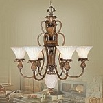 Savannah Collection 6-Light 32 1/2'' Venetian Patina Chandelier 8456-57