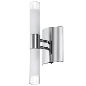 "Contemporary 2-Light 12"" Polished Chrome Wall Sconce with Frosted Glass Cylinder 85035A-PC"