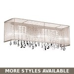 "Shaded Light Design 4-Light 26"" Chrome Crystal Bathroom Vanity Fixture with an Organza Shade SKU# 10597"
