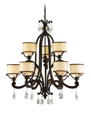 "Roma Collection 9-Light 35"" Classic Roman Chandelier with Cream Ice Glass and Crystal Accents 86-09"
