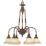 "Sovereign Collection 6-Light 25"" Crackled Bronze Downlight Chandelier with Vintage Scavo Glass 8605-30"