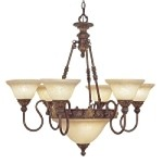 "Sovereign Collection 8-Light 31"" Crackled Bronze Chandelier with Vintage Scavo Glass 8606-30"