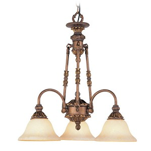 "Sovereign Collection 3-Light 23"" Crackled Bronze Downlight Mini Chandelier with Vintage Scavo Glass 8614-30"