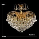 "Waterfall Design 9-Light 19"" Gold or Chrome Chandelier with European or Swarovski Crystals SKU# 10600B"