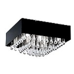 "Camini Design 8-Light 15"" Crystal Drop Ceiling Flush Mount with Glossy Black Shade 88201A"