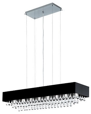 "Camini Design 8-Light 39"" Crystal Drop Linear Pendant with Glossy Black Shade 88203A"