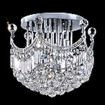"Royal Throne Design 6-Light 16"" Gold or Chrome Flush Mount with European or Swarovski Crystals SKU# 10609"