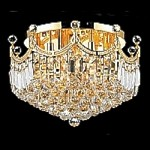 Royal Throne Design 9-Light 20'' Gold or Chrome Ceiling Flush Mount Dressed with European or Swarovski Crystals SKU# 10610