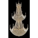 "Royal Throne Series 36-Light 66"" Chrome or Gold Chandelier Dressed with European or Swarovski Crystals SKU# 10608"
