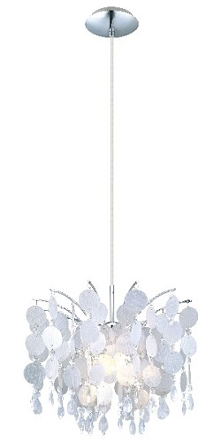 "Fedra Collection 1-Light 47"" Chrome Mini Pendant with Clear Crystals 91046A"