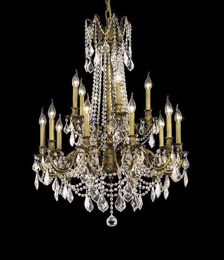"Rosalia Collection 15-Light 28"" Antique Bronze Chandelier with Clear Swarovski Spectra Crystal 9215D28AB/SA"