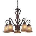 "Lawrenceville Collection 5-Light 24"" Mocha Downlight Chandelier with Antique Amber Glass 9327/5"