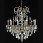 "Athena Collection 10-Light 30"" French Gold Chandelier with Clear Elegant Cut Crystal 9710D30FG/EC"