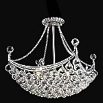 4 & 6 Corner Design 8-Light Square 20'' Chrome or Gold Chandelier Dressed with European or Swarovski Crystals SKU# 10623