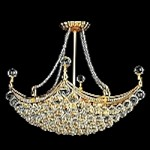 4 & 6 Corner Design 8-Light 28'' Chrome or Gold Chandelier Dressed with European or Swarovski Crystals SKU# 10625