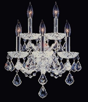 Maria Theresa Design 5 Light 15'' Chrome Wall Sconce Dressed with High Quality 30% Lead Crystals SKU* 981010