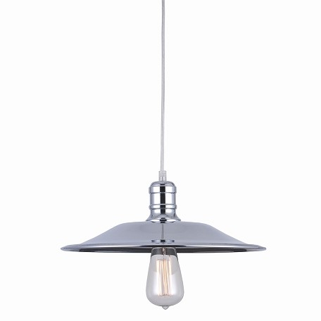 "Astor Court Industrial 1 Light 14"" Chrome Pendant"