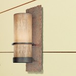 "Bamboo Collection 1-Light 14"" Bronze Indoor/Outdoor Wall Sconce with Natural Slate B1851BB"