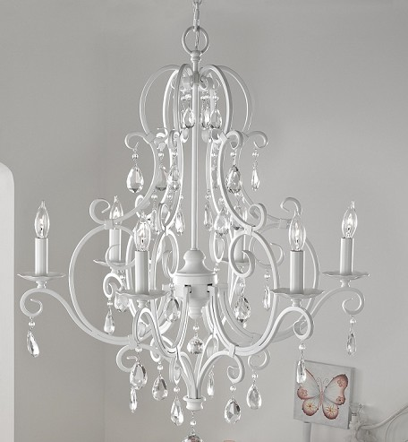 Feiss Six Light Semi Gloss White Up Chandelier - F1902/6SGW