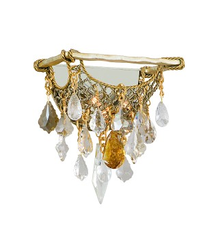 "Barcelona Collection 2-Light 10"" Silver and Gold Leaf Wall Sconce with Italian Crystal Drops 125-12"