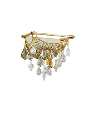 "Barcelona Collection 3-Light 13"" Silver and Gold Leaf Wall Sconce with Italian Crystal Drops 125-13"