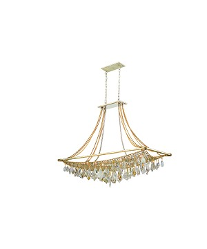 "Barcelona Collection 12-Light 50"" Silver and Gold Leaf Island Fixture with Italian Crystal Drops 125-512"