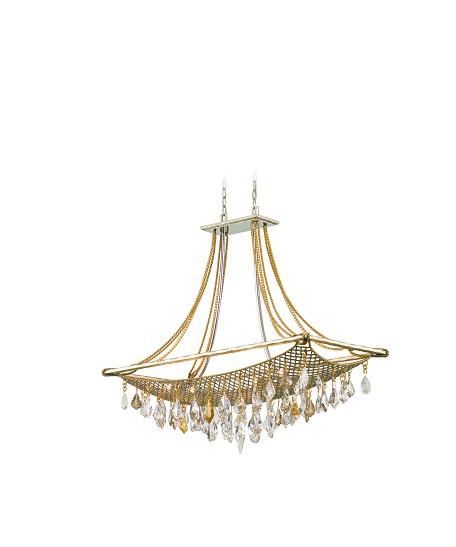 "Barcelona Collection 8-Light 38"" Silver and Gold Leaf Island Fixture with Italian Crystal Drops 125-58"