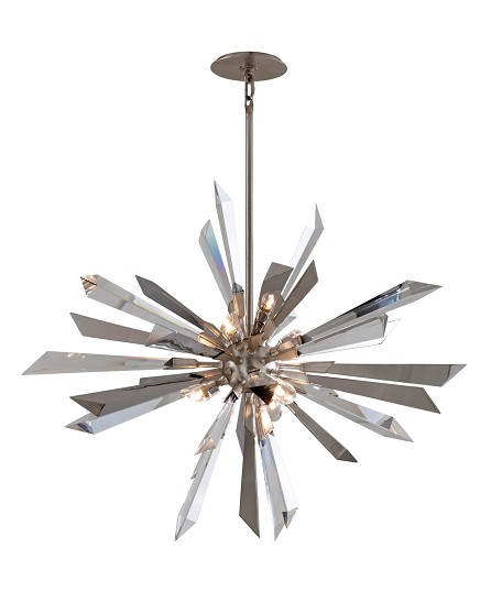 "Inertia Collection 6-Light 36"" Silver Leaf Crystal and Polished Stainless Pendant Chandelier 140-47"
