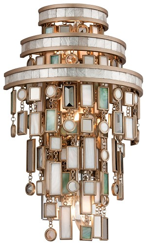 "Dolcetti Collection 3-Light 15"" Silver Wall Sconce with Mixed Shells and Crystal 142-13"