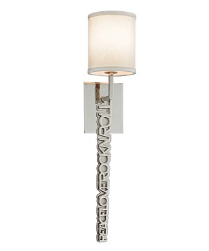 "Alter Ego 1-Light 26"" Polished and Satin Nickel Wall Sconce with Linen Shade 151-11"