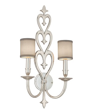 "Heart Throb 2-Light 25"" Polished Nickel Wall Sconce with Linen Shades 160-12"