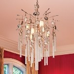 "Bliss Collection 7-Light 43"" Topaz Leaf Pendant Chandelier with White Pearl Glass, Brazilian Rock Crystal, and Tassels 162-47"