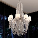 "Flirt Collection 8-Light 61"" Modern Silver Leaf Chandelier with Linen Shades, Jewelry Chain and Amethyst Rock Crystal 157-08"