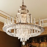 "Illusion Collection 34-Light 38"" Silver Leaf LED Crystal Chandelier with Glass Candles 170-010"