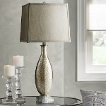 "Coco 1-Light 27"" Golden Crackle Glass Table Lamp with Grey Silk Shade 04819"