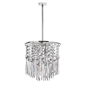 "Josephine Design 3-Light 10"" Chrome Hanging Pendant with European or 30% Lead Crystals SKU# 12052"