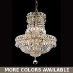 "Invisible Design 6-Light 19"" Chrome or Gold Mini Chandelier with European or Swarovski Crystals SKU# 10393"
