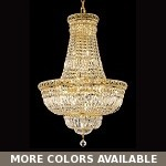 "Invisible Design 22-Light 31"" Chrome or Gold Chandelier with European or Swarovski Crystals SKU# 10395"