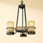 "Bamboo Collection 3-Light 18"" Bronze Mini Chandelier with Natural Slate F1845BB"