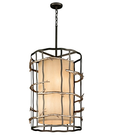 "Adirondack Collection 6-Light 22"" Graphite And Silver Pendant F2885"