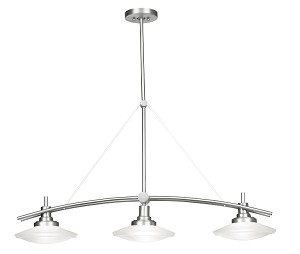 "Structures Collection Brushed Nickel Contemporary 3-Light 38"" Island Light Kichler 2955NI"