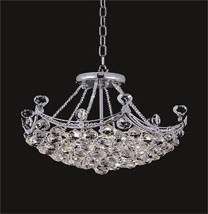 4 & 6 Corner Design 6-Light 20'' Chrome or Gold Chandelier Dressed with European or Swarovski Crystals SKU# 83918