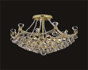 4 & 6 Corner Design 6-Light 20'' Chrome or Gold Ceiling Flush Mount Dressed with European or Swarovski Crystals SKU# 61528