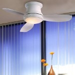 "Concept II Series 52"" White Hugger Ceiling Fan with Light Kit F519-WH"