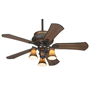 "Craftsman Collection 52"" Wet Location Dark Craftsman Ceiling Fan with Light Kit F840-CF"