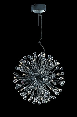 "Lunasphere Design 32-Light Chrome 20"" Hanging Pendant with Clear Crystals SKU# 10792"