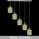 "Hollywood Design 5-Light 34"" Linear Square Adjustable Pendants  30% Lead or Swarovski Spectra Crystal SKU# 11485"